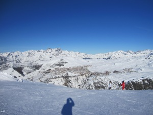 View to Alpe d'Huez from Auris en Oisans mountain