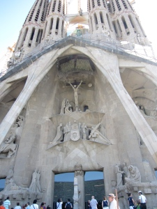 The passion facade and entrance at La Sagrada Familia