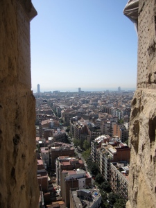 View from La Sagrada Familia tower to the harbor of Barcelona