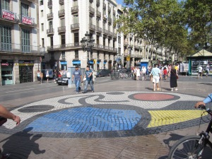 Pavement mosaic by Joan Miró on La Rambla