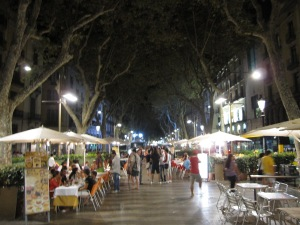 La Rambla at night (taken at 00:34)