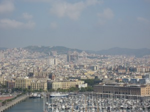 View on Barcelona from the cable car