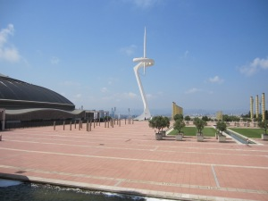 Montjuic Communications Tower next to the arena Palau Sant Jordi