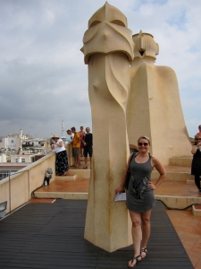 Feeling happy at the rooftop of La Pedrera
