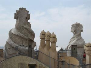 Sculptural rooftop decorations at La Pedrera