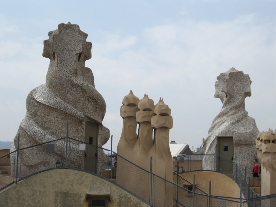 Sculptural rooftop decorations at La Pedrera