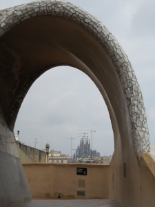 A view to La Sagrada Familia from the rooftop of La Pedrera