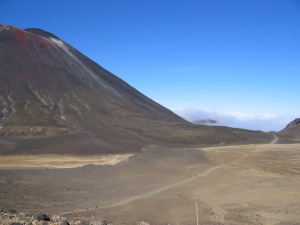 View over the South Crater and Mt. Ngauruhoe - notice the small people hiking