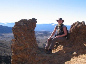 A happy hiker in Tongariro National Park