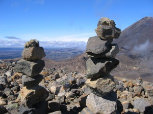 Creative rock art with Mount Ngauruhoe in the background
