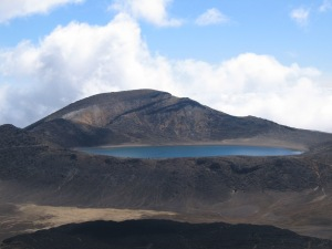 View to the Blue Lake and lava flow from Red Crater